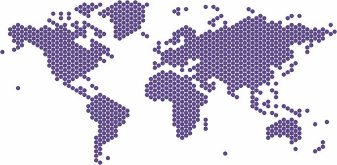 Spoed Foto op Canvas Wereldkaart Violet circle shape world map on white background, vector illustration.