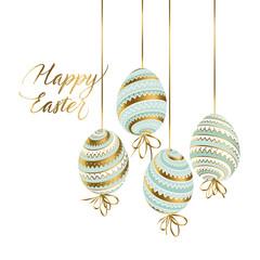 Elegant gold and pastel color easter eggs.