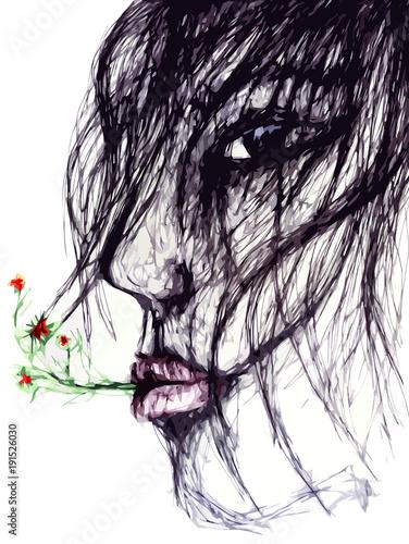 Dessin D Une Jeune Femme De Profil Cheveux Au Vent Et Fleurs à La