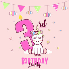 Birthday party invitation with unicorn