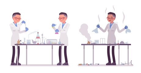 Male scientist making chemical experiments in lab