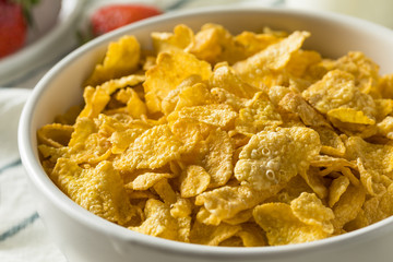 Healthy Corn Flakes with Milk for Breakfast