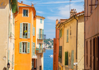 colorful buildings in Nice on french riviera, cote d'azur, southern France