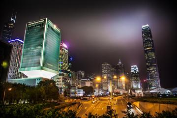 Fototapete - Hong Kong street at night, China in Hong Kong, China