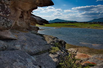 Eastern Kazakhstan, Ancient mountains National Park Bayanaul, located in the endless steppe.