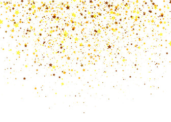 Colorful confetti of stars flying randomly on white background. Explosion of golden stars. Abstract background can be used for holidays, celebration, new year, greeting cards, birthday