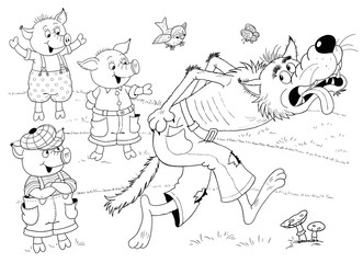 Three little pigs. Fairy tale. Coloring book. Coloring page. Illustration for children. Cute and funny cartoon character