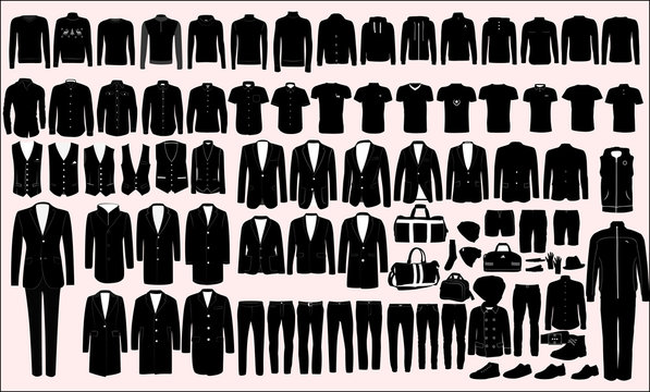 Vector collection of men's sportswear and classic clothes