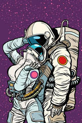 cosmic love of cosmonauts, man hugs woman