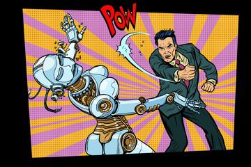 retro male beats up female robot