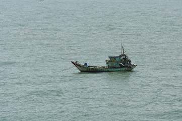 Fisherman's boat at anchored in the bay at Vung Tau, Vietnam