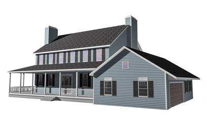 3D House illustration on white