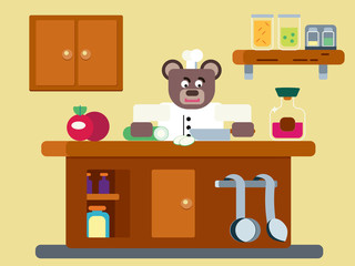 Cartoon brown bear the cook working at the kitchen flat illustration
