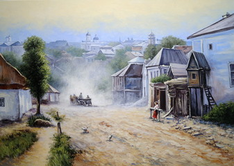 Oil paintings landscape, old city, fine art