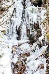 mountain stream, frozen, in the woods with snow