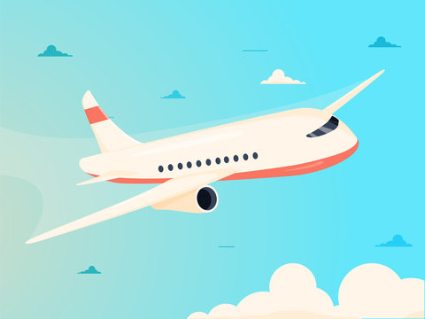 Airplane in sky vector illustration.