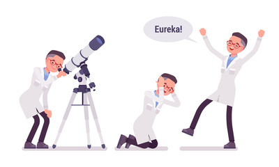 Male scientist happy with eureka result