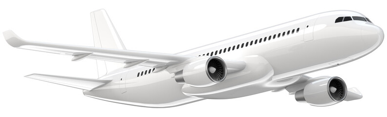 Tuinposter Vliegtuig High detailed white airliner, 3d render on a white background. Airplane Take Off, isolated 3d illustration. Airline Concept Travel Passenger plane. Jet commercial airplane