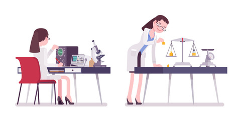 Female scientist measuring