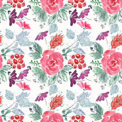 Abstract seamless cute floral pattern.Bright red, lilac flowers on white background.