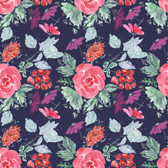 Abstract seamless cute floral pattern.Bright red, lilac flowers on dark blue background.