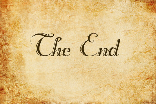 The end handwritten on old vintage paper