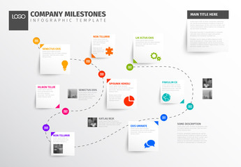 Dotted Line Path Timeline Infographic