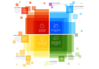 Primary Color Square Overlay Infographic