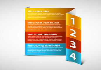 Vertical 4 Step Folded Paper Infographic