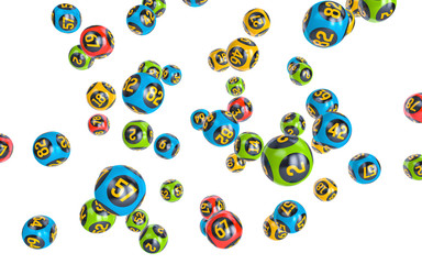 Milticolor Bingo balls fall randomly on white isolated background. Lottery Number Balls.  Bingo balls with numbers. 3d illustration.