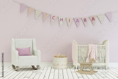 Kinderzimmer mit Wimpelgirlande - Name Chiara\