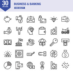 Business And Banking Line Icon Set