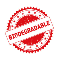 Biodegradable red grunge stamp isolated