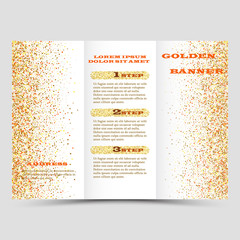 Gold sparkles on white background, banners. Golden background text. Banners logo, web, card, vip, exclusive, certificate, gift, luxury, privilege, voucher, store, present, shopping, sale.