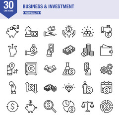 Business And Investment Line Icon Set