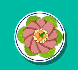 Sliced Corn beef and cabbage, Top view, vector