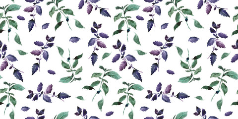 Seamless green basil pattern, Watercolor violet basil decor, cooking spices background with natural watercolor illustration, art for craft label design, bright vegetarian banners, menu of restaurants