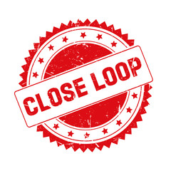 Close Loop red grunge stamp isolated