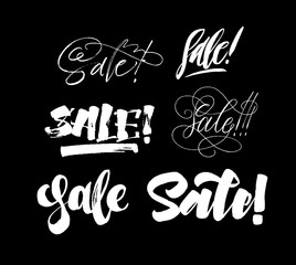Sale set lettering. Handwriting calligraphy collection. Brush pen style. Vector ink inscriptions.