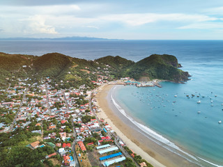 Panoramic view of san juan del sur town