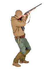 Full length portrait of a male hunter ready to hunt with hunting rifle Isolated on white background. hunting and people concept.