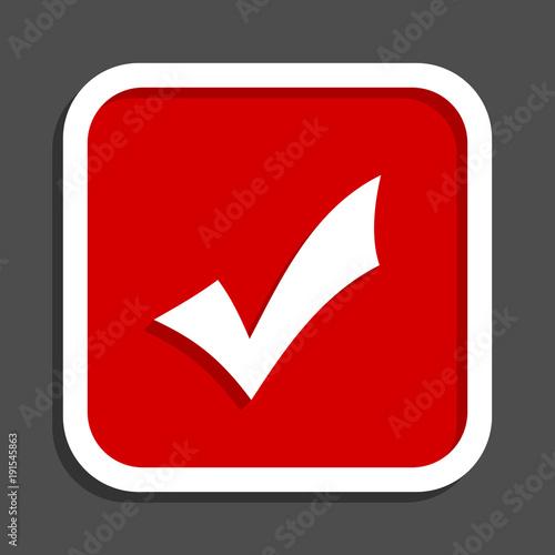 4a42d5107e067 Accept vector icon. Flat design square internet red button.