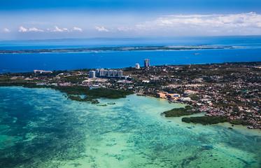 Panorama of Cebu city from airplane. Philippines.