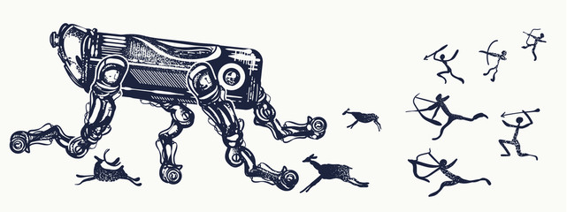Robots and people, tattoo art. Modern robot runs away from cave people. Symbol of degradation of mankind, future and past, time machine. Robot and human art tattoo and t-shirt design