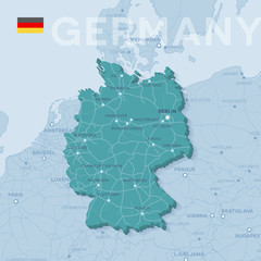 Map of cities and roads in Germany.