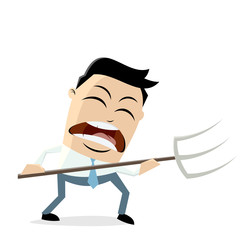 angry businessman with pitchfork