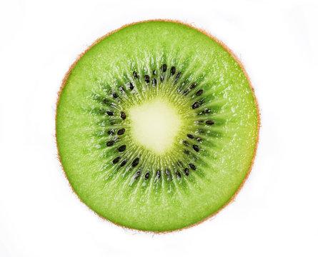 Cross section of ripe kiwi isolated on white background