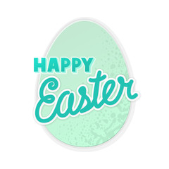 Happy Easter sticker with colorful handwritten text and egg. Isolated illustration with handwritten lettering on white background.