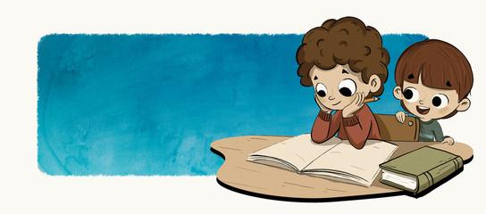 Niños haciendo los deberes o leyendo