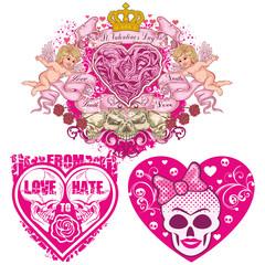 valentines skull with heart, grunge vintage design t shirts set